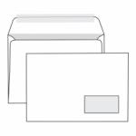 Конверт белый С5  прямой клапан, отрывная лента, окно справа, внутренняя запечатка